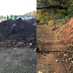 Contaminated land before and after photo