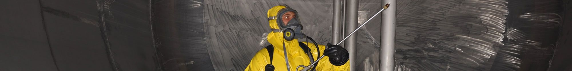 Industrial factory cleaning in safety suit
