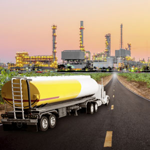 Industrial tanker on road