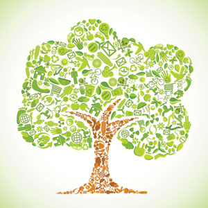Tree illustration made of eco icons